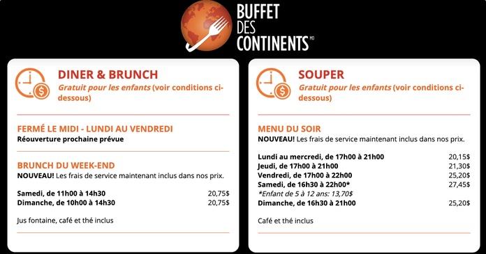 Les enfants mangent gratuitement au Buffet des Continents