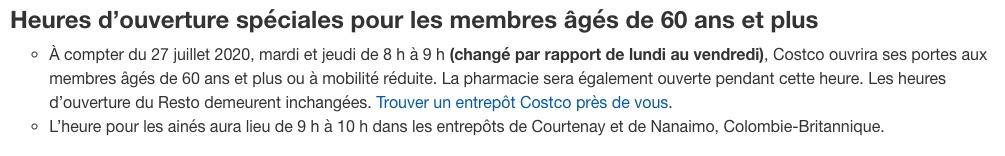 Nouvelles heures d'ouvertures pour les 60 ans et plus chez Costco.