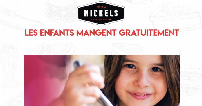 Repas gratuit pour les enfants dans les restaurants Nickel.