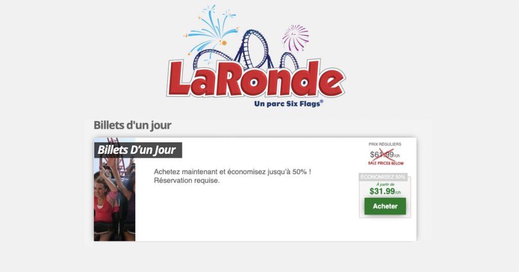 Rabais sur les billets d'un jour à La Ronde