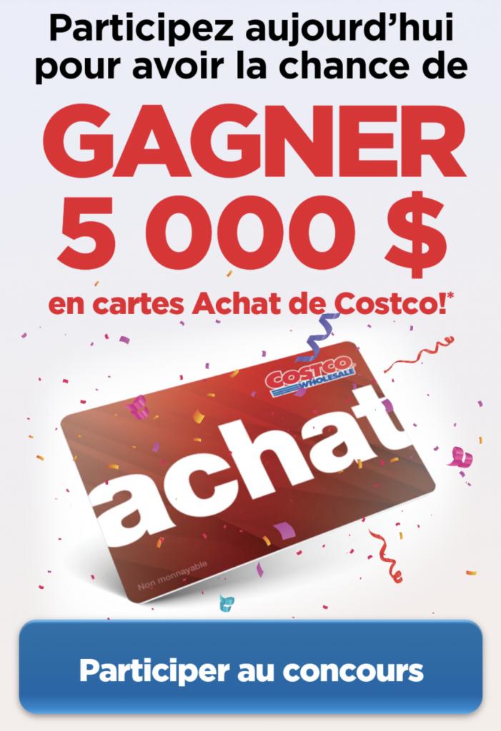 Courez la chance de GAGNER une carte cadeau de 5000$ chez Costco